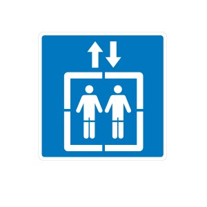 Señal de acceso peatones ascensor
