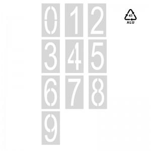 Plantillas números sueltos 0-9 de 120 cm señalización parking-Arial (70% condensada)-Aluminio