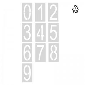 Plantillas números sueltos 0-9 de 120 cm señalización parking-Arial (70% condensada)-Pvc