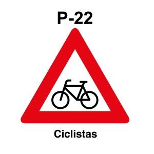 Señal de pakring P-22 Peligro Ciclistas