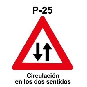 Señal de circulación P25 Peligro circulación en los dos sentidos