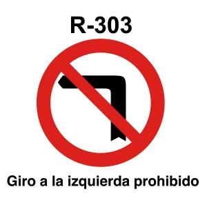 Señal de circulación R303 Giro a la Izquierda Prohibido
