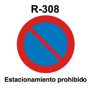 Señal de circulación R308 Estacionamiento prohibido