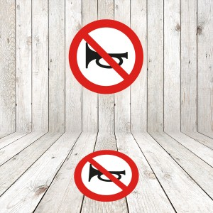 Vinilo señalización adhesivo señal tráfico Advertencias acústicas prohibidas