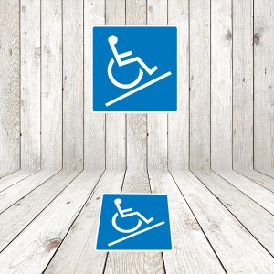 Vinilo señalización adhesivo señal acceso rampa Minusválidos / Discapacitados