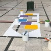 Plantilla pintar juego tradicional RAYUELA en patio colegio