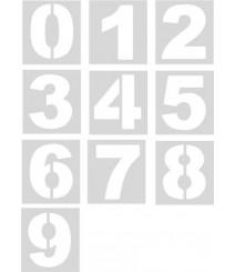 Pack 10 plantillas Aluminio pintar números en pared y suelos (20 a 50 cm)