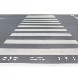 """Kit 3 Plantillas señalización paso de peatones """"respete la distancia"""" con pictogramas"""