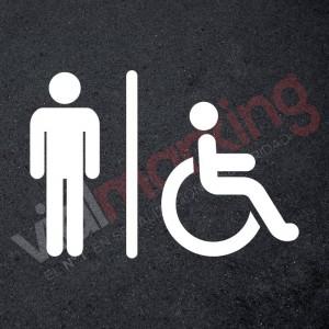 Plantilla pintar señalética aseo/wc accesible hombres