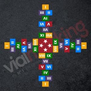 Plantilla pintar juego tradicional RAYUELA 1 ó 4 aspas Números romanos-estrella