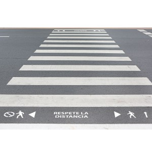 """Kit Plantillas señalización paso de peatones """"respete la distancia"""