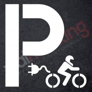 Plantilla pintar señal P parking moto eléctrica