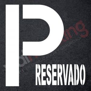Plantilla pintar señal P parking RESERVADO
