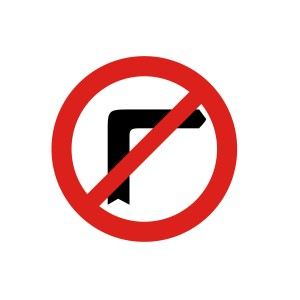 Vinilo señalización adhesivo señal tráfico Giro a la Derecha prohibido