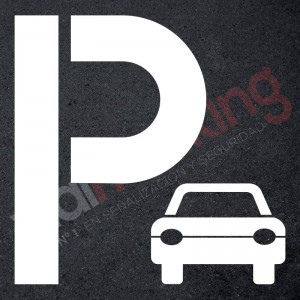 Plantilla pintar señal P parking coche