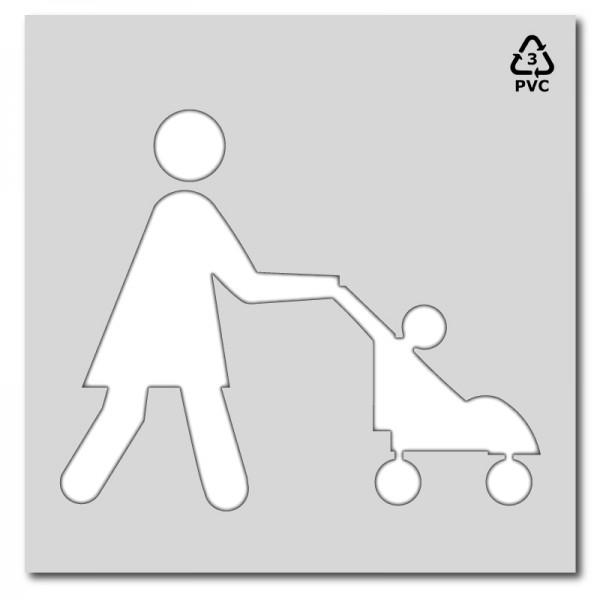 Zona peatonal madre con carrito señalización horizontal parkings, aparcamientos y zonas comerciales