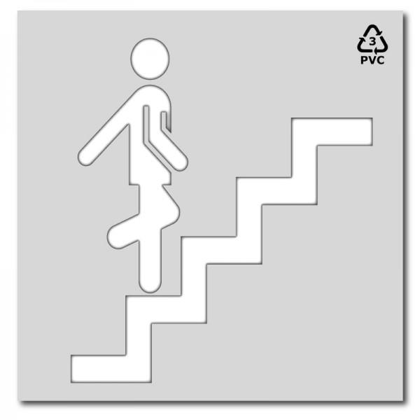 Plantilla pintar señal de escalera de emergecia subir
