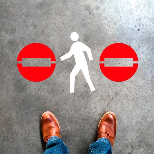 Plantilla pintar señal dirección prohibida peatones