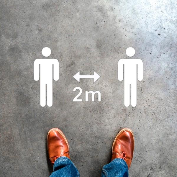 Plantilla pintar señal 2 metros entre personas pictograma unisex