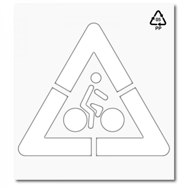 Plantilla pintar señal P22 Peligro ciclistas