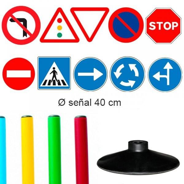 Pack 10 señales Basic Educación Vial Infantil 40 cm con base de caucho
