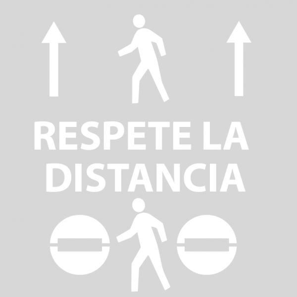 """Kit 3 Plantillas señalización ordenación sentido marcha paso peatones """"respete la distancia"""""""