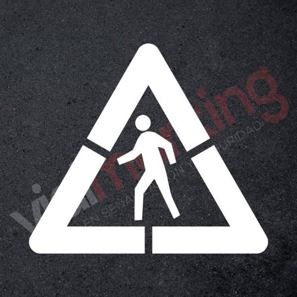 Pack Plantilla pintar señal advertencia peligro paso de peatones (1 pieza) L