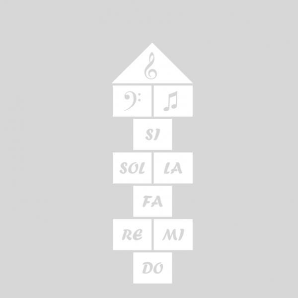 Plantilla pintar juego tradicional RAYUELA 1 ó 4 aspas Notas Musicales