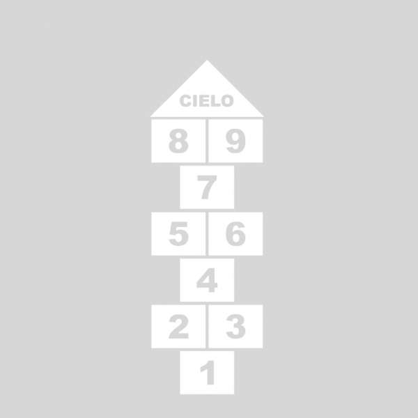 Plantilla pintar juego tradicional RAYUELA 1 ó 4 aspas Números-cielo