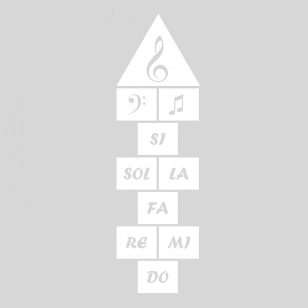Plantilla pintar juego tradicional RAYUELA 1 ó 3 aspas Notas Musicales