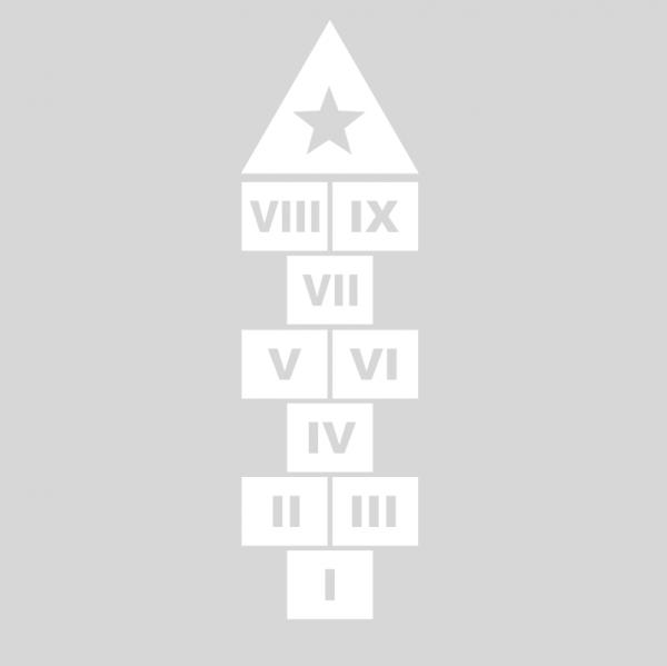 Plantilla pintar juego tradicional RAYUELA 1 ó 3 aspas Números romanos-estrella