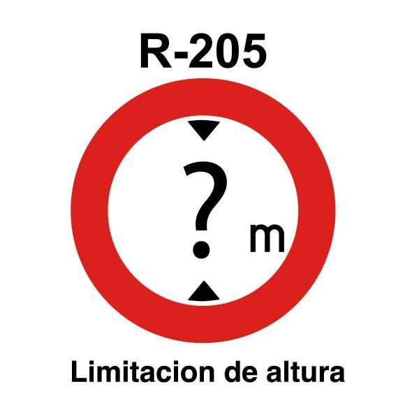 Señal de circulación R205 Limitación de Altura