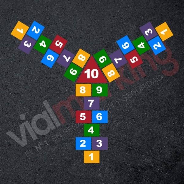 Plantilla pintar juego tradicional RAYUELA 1 ó 3 aspas Números