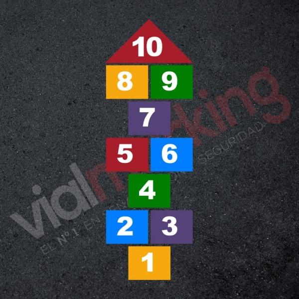 Plantilla pintar juego tradicional RAYUELA 1 ó 4 aspas Números
