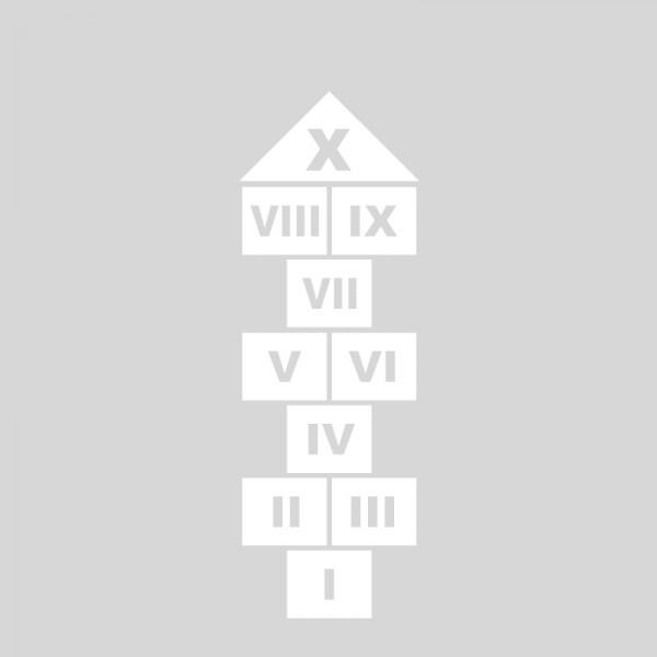 Plantilla pintar juego tradicional RAYUELA 1 ó 4 aspas Números romanos