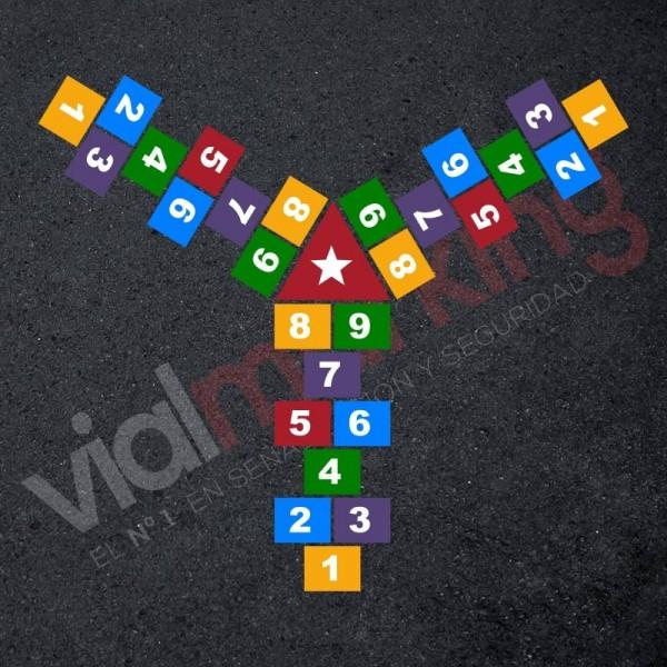 Plantilla pintar juego tradicional RAYUELA 1 ó 3 aspas Números-estrella
