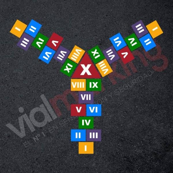 Plantilla pintar juego tradicional RAYUELA 1 ó 3 aspas Números romanos
