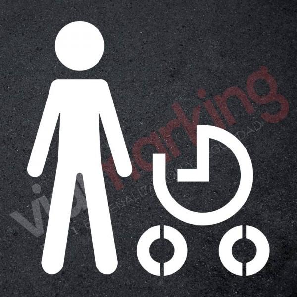 Plantilla pintar peatón con carrito de bebé