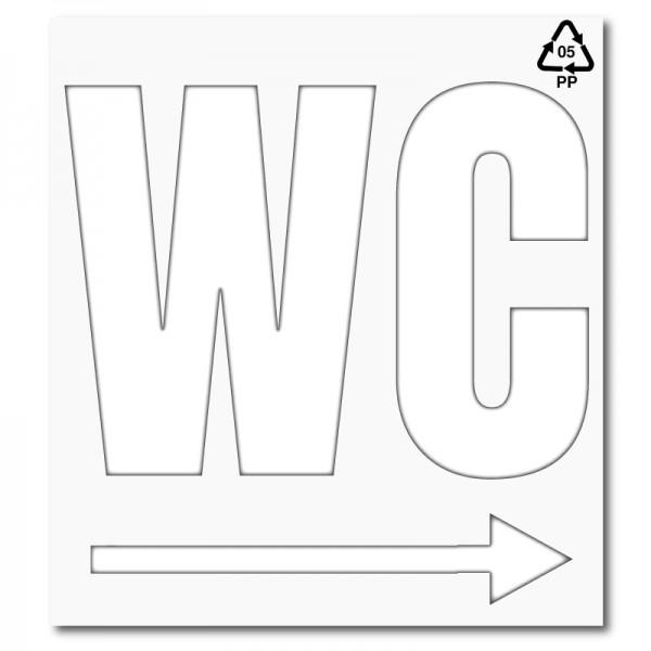 Plantilla para pintar señalética wc con flecha derecha